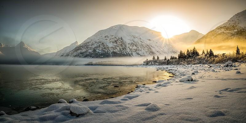 portage lake winter sunrise snow cold anchorage photo