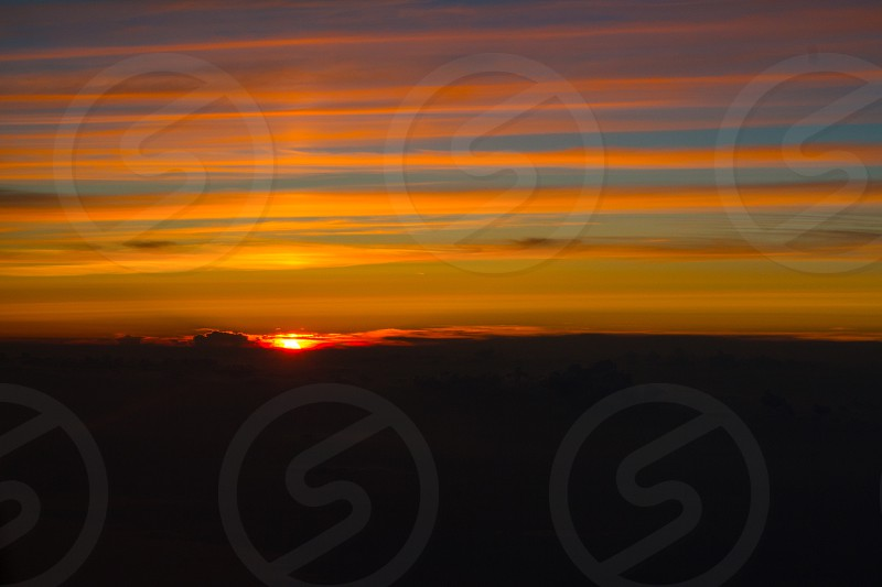Sunset Mile High Club Love Sky Dark Clouds NYC 8:30PM Travel Destination Flight  photo