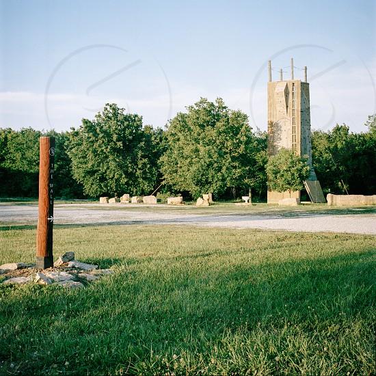 brown metal post at the park photo
