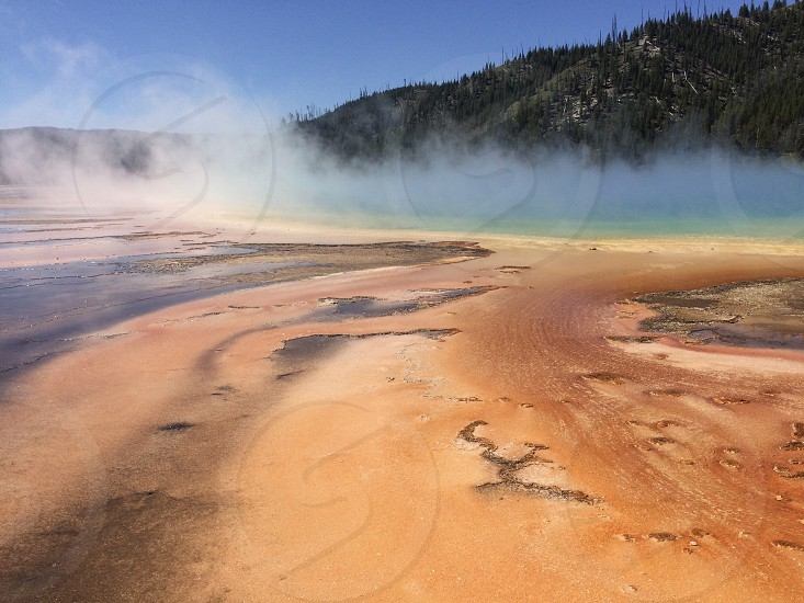 Yellowstone National Park Usa Wyoming orange light blue geyser geology thermal pool geo thermal Grand Prismatic Spring hot spring summer lake dramatic west Yellowstone western usa landscape beauty in nature fumes steam photo