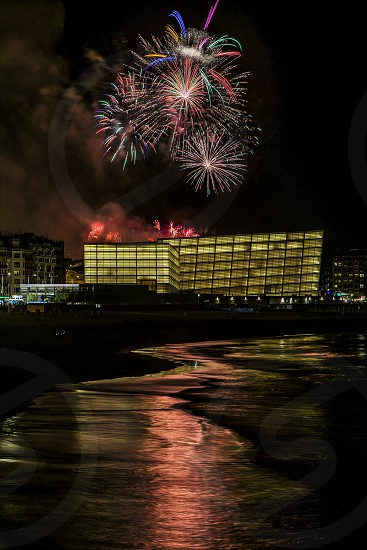 fireworks display at the city photo