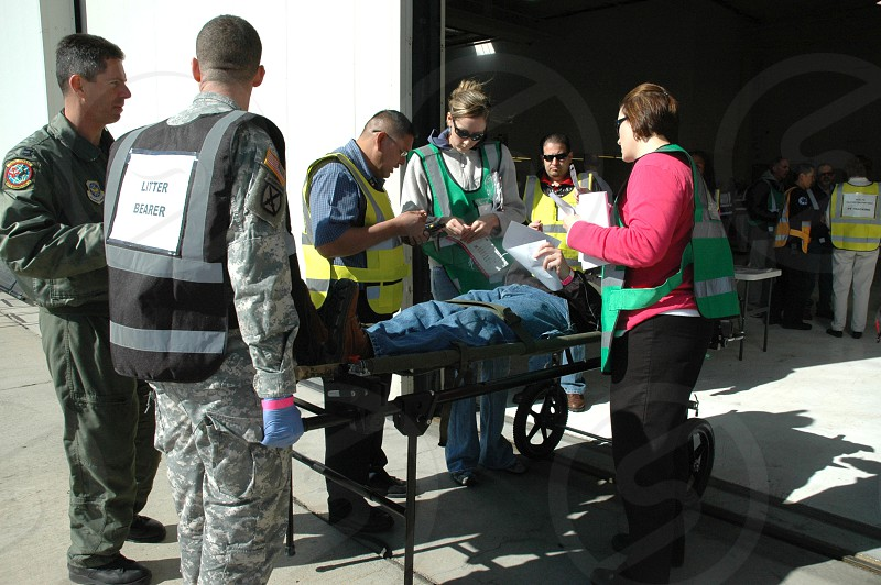 Triage area for mass casualty drill photo