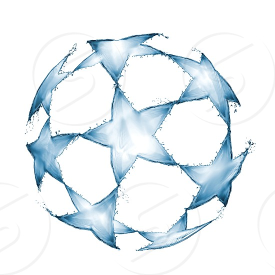 Football ball made of water splashes isolated on white background. photo
