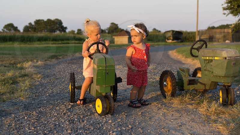 Rustic lifestyle; farm; toddlers and tractors  photo