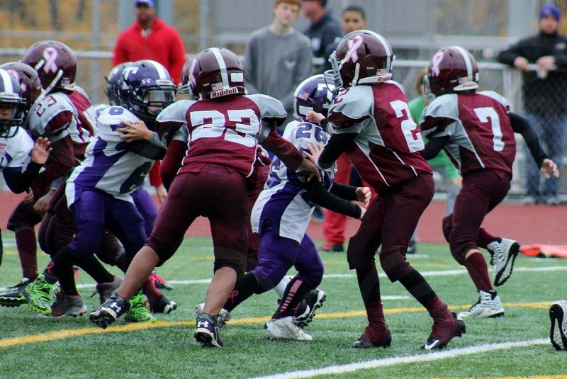 football players wearing maroon and purple uniforms doing their game during daytime photo
