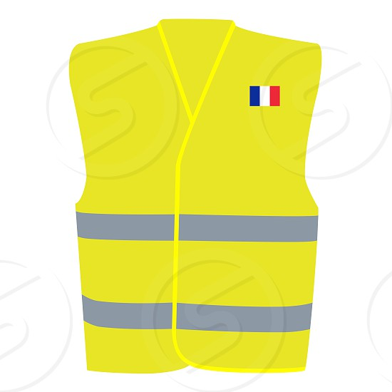 Safety Yellow Vest with Flag of France Isolated on White Illustration photo