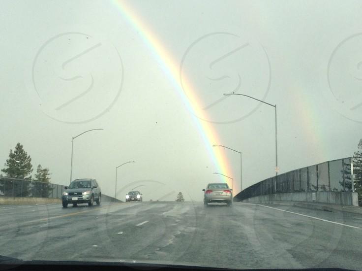 Rainbow over the freeway photo