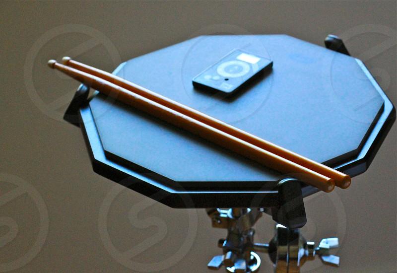 Practice pad drumsticks metronome photo