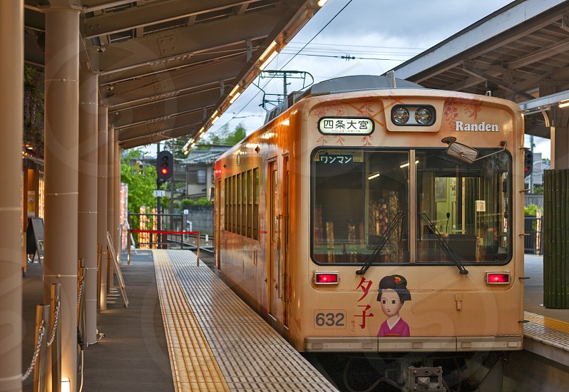 randen station line japan kyoto tram arashiyama keifuku travel purple transport track train public passenger rail platform tourist famous vehicle railway transit kansai color shijo-omiya electric railroad Shijo Omiya ticket photo