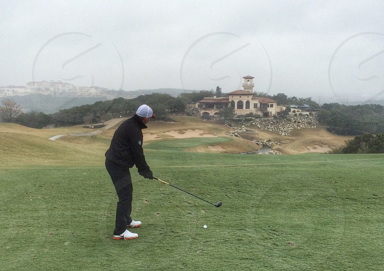 Golf fairway spoon aiming San Antonio USA one person  photo