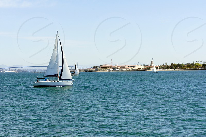 Sail boats in the San Diego Bay photo