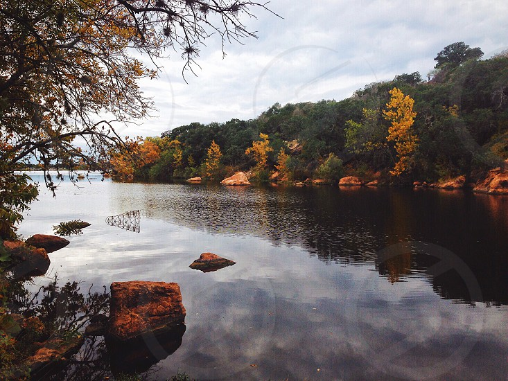 Fall autumn fall leaves fall foliage lake river reflection October November lake season thanksgiving harvest Amber photo
