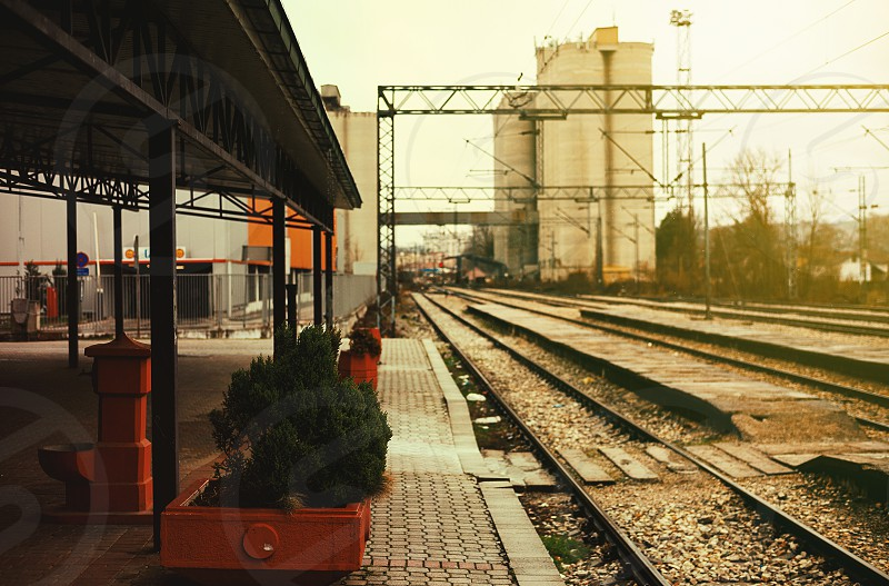 Small town old railway station during day.  photo