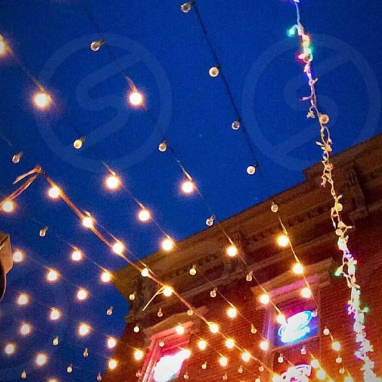 Night Lights: Twinkle Lights Against Blue Night Sky photo