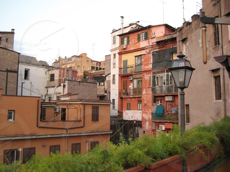 Looking out from hotel window in Rome Italy photo