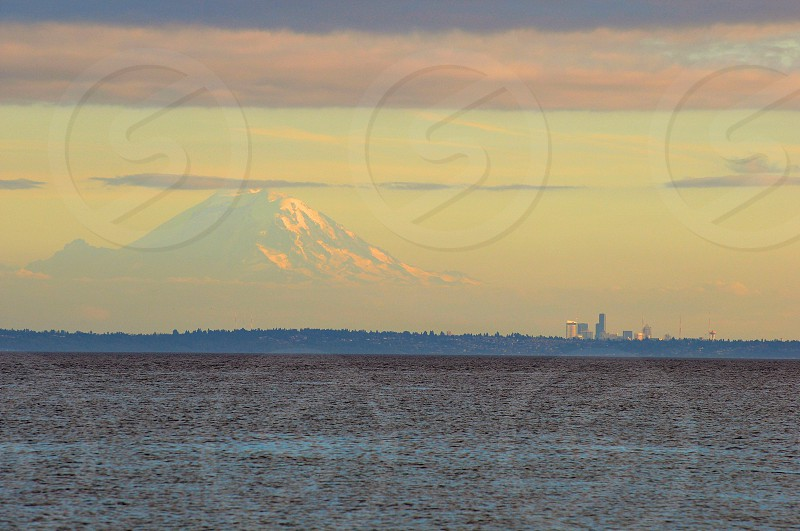 Mt Rainier and the Seattle skyline photo