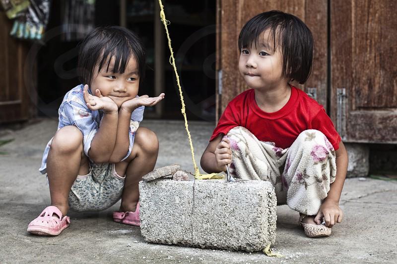 brothers twins children myanmar asia burma photo
