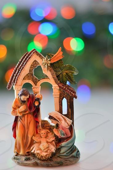 close up photo of ceramic the nativity figurine photo