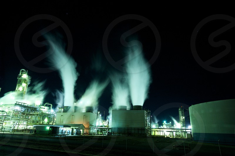 Image of an industrial plant at night photo