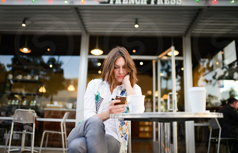 trendy fashion style cafe coffee phone woman photo