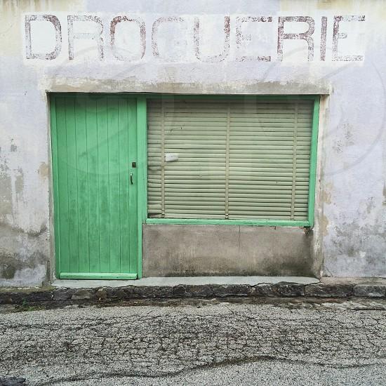 green wooden door photo