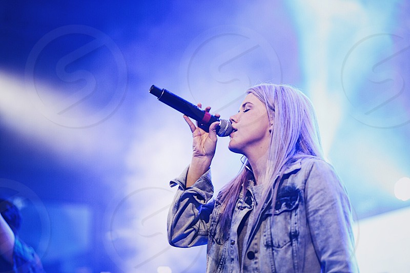 Sing artist rave girl purple hair vocalist photo