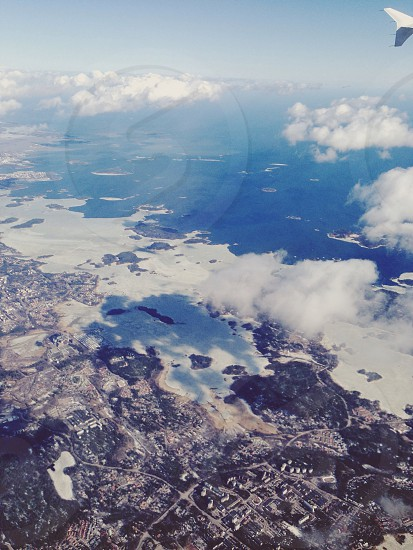 Birdseye view . Sea . Helsinki . Sky . View . Clouds  photo