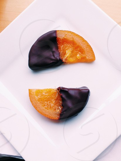 Chocolate covered oranges photo