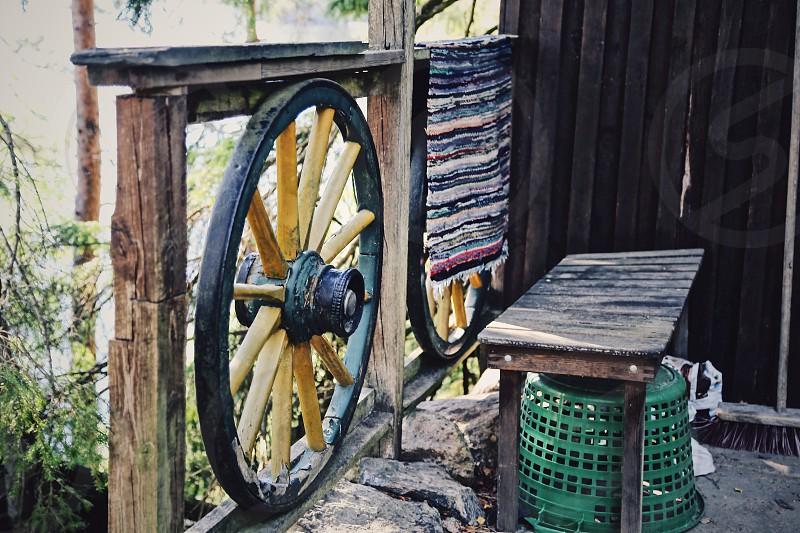 Cabin life outdoors porch mat carpet wheel wooden handmade  creativity  photo