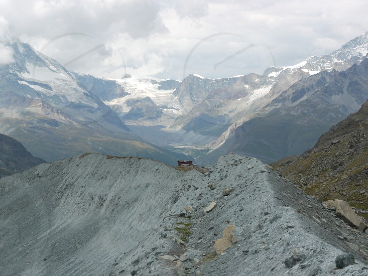 Berghaus Fluhalp.  Deep in the mountains near Zermatt Valais Swiss Alps Switzerland. photo