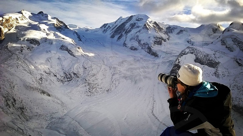 Ania Freindorf Photographer working near glaciers Switzerland Mont Rose photo