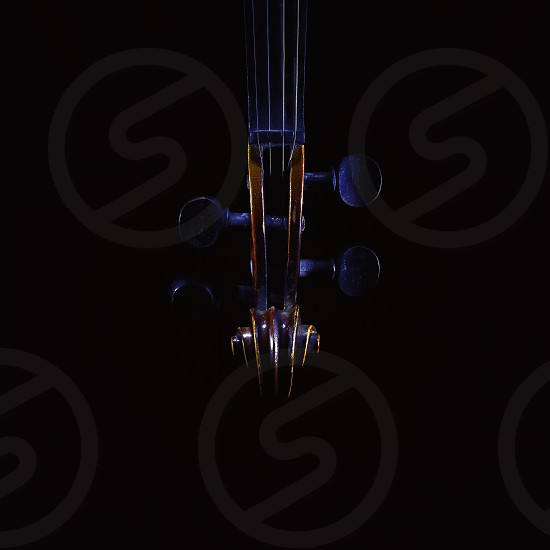 Accentuated shapes of violin with light illuminated in dark. photo