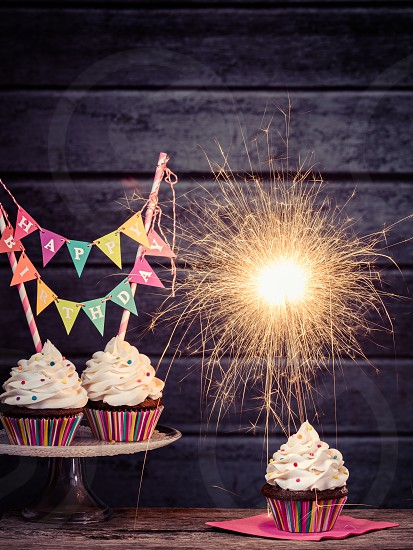 Fabulous Cupcakes With Happy Birthday Banner Lit Sparkler And Colorful Funny Birthday Cards Online Eattedamsfinfo