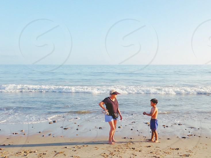 Family beach summer California  photo