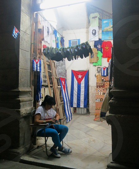 Flags and memorabilia for sale in Havana Cuba photo