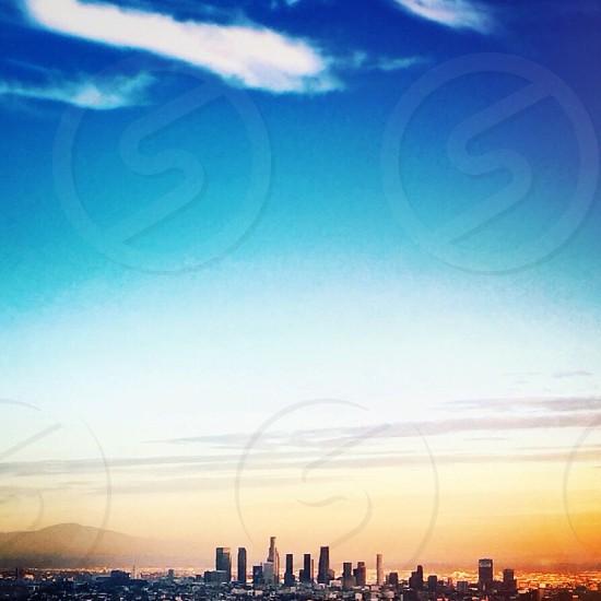 metropolis view at sunset photo