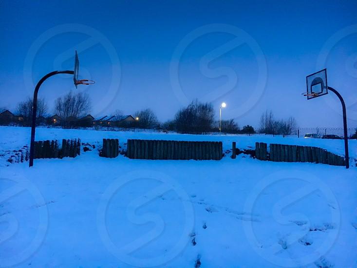 Basketball court  snow Paisley Lyon Road Foxbar White Scotland UK  photo
