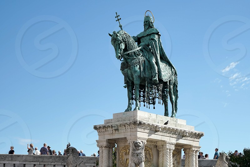 St Stephens Statue at Fishermans Bastion Budapest photo
