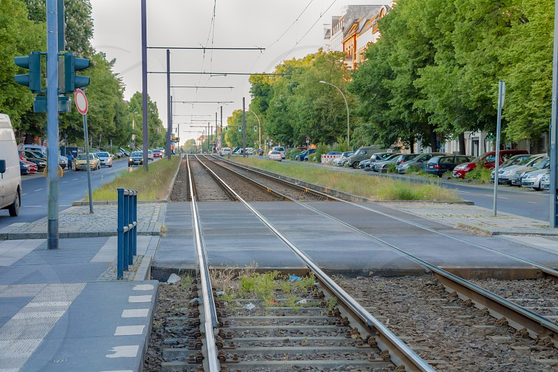 Tram railway platform in the street of Berlin city. photo