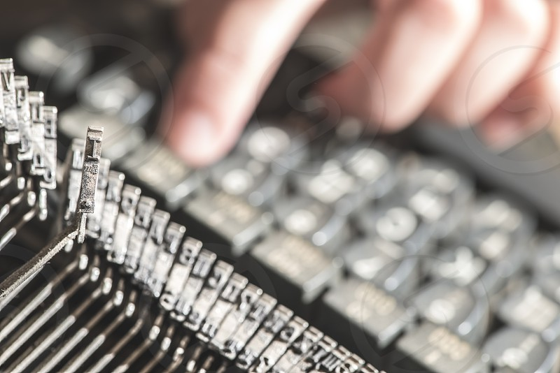 Plate letter I on a typewriter. Close up photo