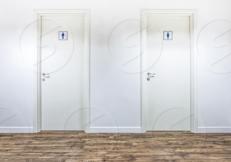 Restrooms doors white interior icon photo