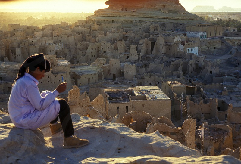 the village of the oasia of siwa in the sahara desert in Egypt in North Africa.  photo