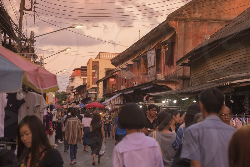 the walkingstreet and nightmarket in the old town of the city of Lampang in North Thailand. photo
