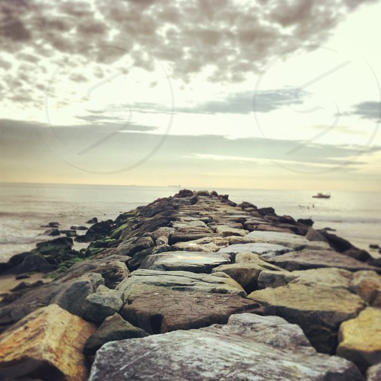 Rockaway beach New York NYC beach rocks Atlantic ocean photo