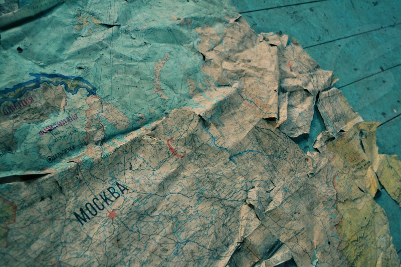 Old map on gym floor Vogelsang old russian village in germany photo