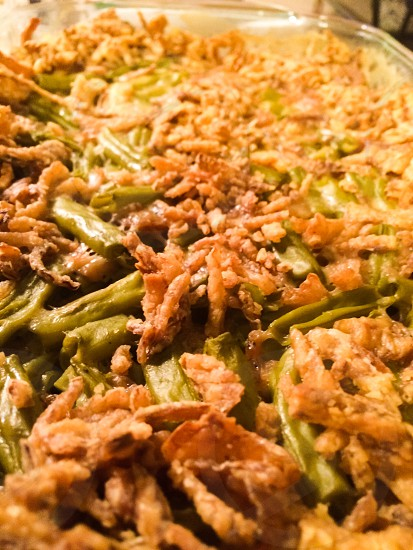 Thankful thanksgiving green bean casserole first thanksgiving with husband.  photo