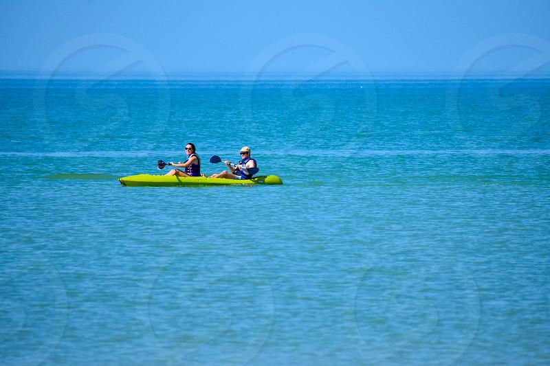 St. Pete Beach Florida . January 25 2019. Couple practice kayaking around the St. Pete Beach (2) photo