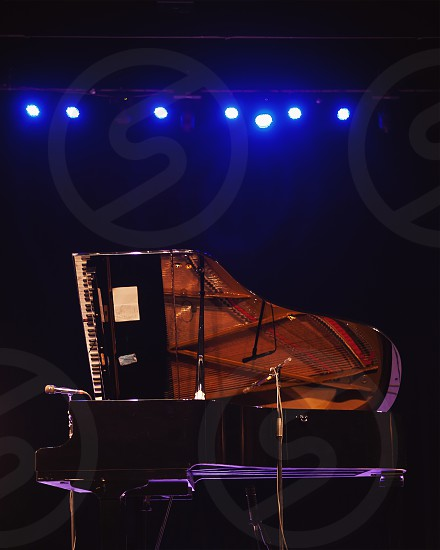 Closeup view of big stage concert piano opened and miked ready for performance.  photo