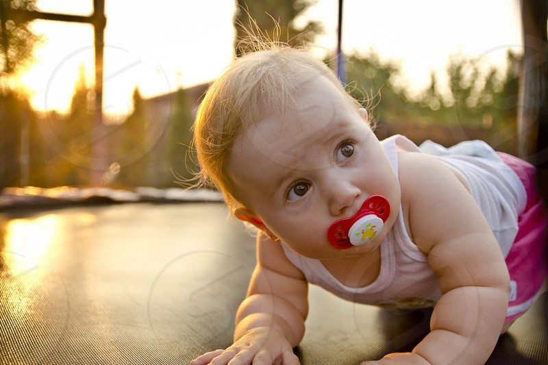 baby pacifier sunset photo