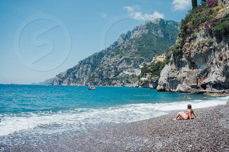 Italy vacation vacationing tourism  tourist beach Amalfi bliss relaxed relaxing relax summer lounge calm unwind cool ocean  photo